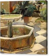 Patio Fountain In Seville Acrylic Print