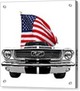 Patriotic Mustang On White Acrylic Print