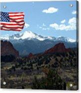 Patriotism At Pikes Peak Acrylic Print by Diane Wallace