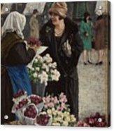 Paul Fischer, 1860-1934, Flower Market In Copenhagen Acrylic Print