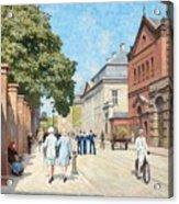 Paul Fischer, Sunny Street Scene, Bredgade, Copenhagen. Acrylic Print