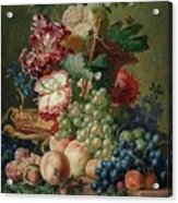 Paulus Theodorus Van Brussel - Still Life Of Flowers And Fruit On A Stone Ledge, Acrylic Print