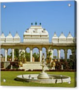 Pavilion And Fountain, Udaipur, India Acrylic Print