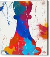 Pawn Chess Piece Paint Splatter Acrylic Print