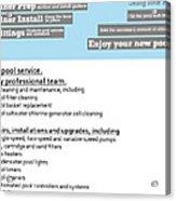 Payan Pool Service Infographics Acrylic Print