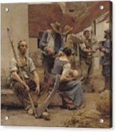 Paying The Harvesters Acrylic Print by Leon Augustin Lhermitte
