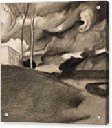Paysage Aux Lourdes Nuages Acrylic Print