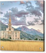 Payson Utah Lds Temple, Sunset View Of The Mountains And Grass Acrylic Print