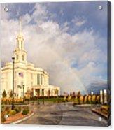 Payson Utah Temple Rainbow Acrylic Print