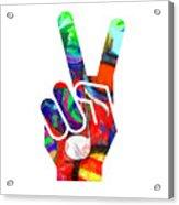 Peace Hippy Paint Hand Sign Acrylic Print