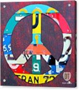 Peace License Plate Art Acrylic Print