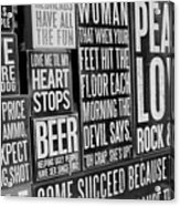 Peace, Love And Rock N Roll Acrylic Print