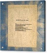 Peace Prayers - Buddhist Prayer For Peace Acrylic Print