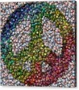Peace Sign Bottle Cap Mosaic Acrylic Print