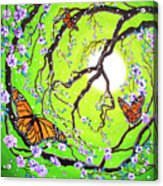 Peace Tree With Monarch Butterflies Acrylic Print