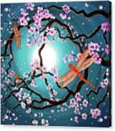 Peace Tree With Orange Dragonflies Acrylic Print