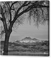 Peaceful Early Morning Sunrise Longs Peak View Bw Acrylic Print