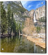 Peaceful Winter River Through Yosemite Valley Acrylic Print
