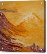 Peach Mountain Acrylic Print