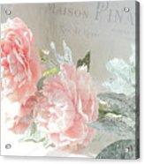 Peach Peonies Impressionistic Peony Floral Prints - French Impressionistic Peach Peony Prints Acrylic Print
