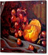 Peaches And Grapes Acrylic Print