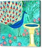 Peacock And Birdbath Acrylic Print by Sushila Burgess