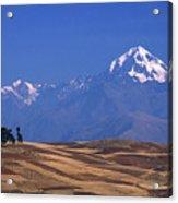 Peaks And Fields Near Cusco Peru Acrylic Print