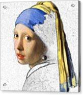 Pearl Earring Digital Art Acrylic Print