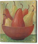 Pears In Copper Bowl Acrylic Print