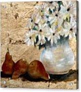 Pears on Gold Acrylic Print