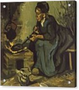Peasant Woman Cooking By A Fireplace Acrylic Print