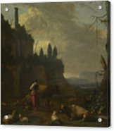 Peasants With Cattle By A Ruin Acrylic Print
