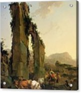 Peasants With Cattle By A Ruined Aqueduct Acrylic Print