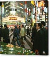 Pedestrians Cross A Crowded Tokyo Acrylic Print by Justin Guariglia