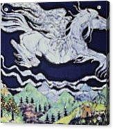 Pegasus Flying Over Stream Acrylic Print