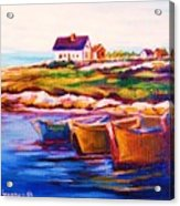 Peggys Cove  Four  Row Boats Acrylic Print