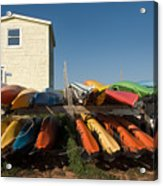 Pei Kayaks Building And Sky Acrylic Print
