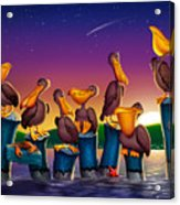 Pelican Sunset Whimsical Cartoon Tropical Birds Seascape Print Blue Orange Purple Yellow Acrylic Print