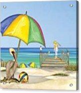 Pelican Under Umbrella Acrylic Print