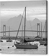 Pell Bridge Newport Harbor Newport Ri Rhode Island Purple Sunset Black And White Acrylic Print