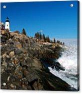 Pemaquid Point Lighthouse - Seascape Landscape Rocky Coast Maine Acrylic Print by Jon Holiday