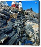 Pemaquid Point Lighthouse Reflection - Seascape Landscape Rocky Coast Maine Acrylic Print
