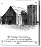 Pencil Drawing Of Old Barn With Bible Verse Acrylic Print
