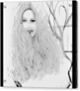 Pencil Sketch Of Blonde Hair Girl Acrylic Print