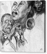 pencil study for Satchmo Lady Day and Nina Simone Acrylic Print