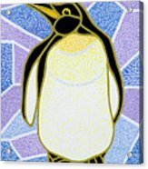 Penguin On Stained Glass Acrylic Print