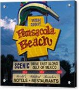 Pensacola Beach Sign At Sunset Acrylic Print