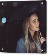 Pensive Woman Outdoors In Rainy Night Acrylic Print
