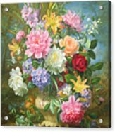 Peonies And Mixed Flowers Acrylic Print