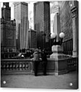 People And Skyscrapers Acrylic Print